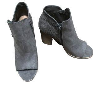Universal thread open toe gray booties 11